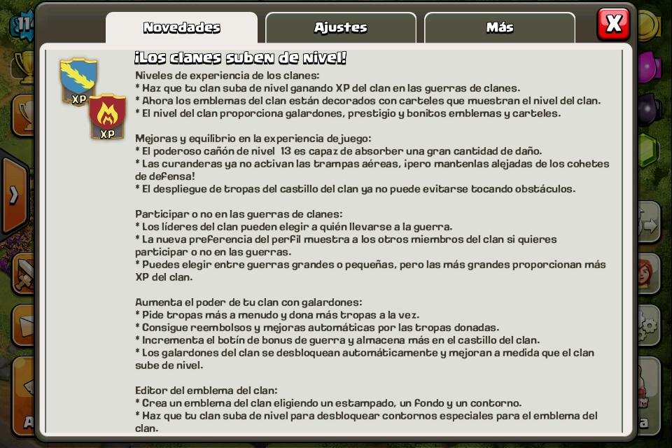 Actualización guerra clash of clans 24/02/15
